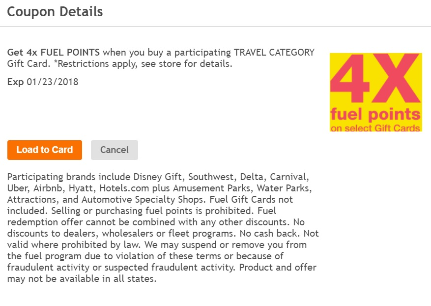 while some of these brands can be purchased at a discount now and then the extra fuel points might make these a decent deal if youve got a large tank or - Travel Gift Cards