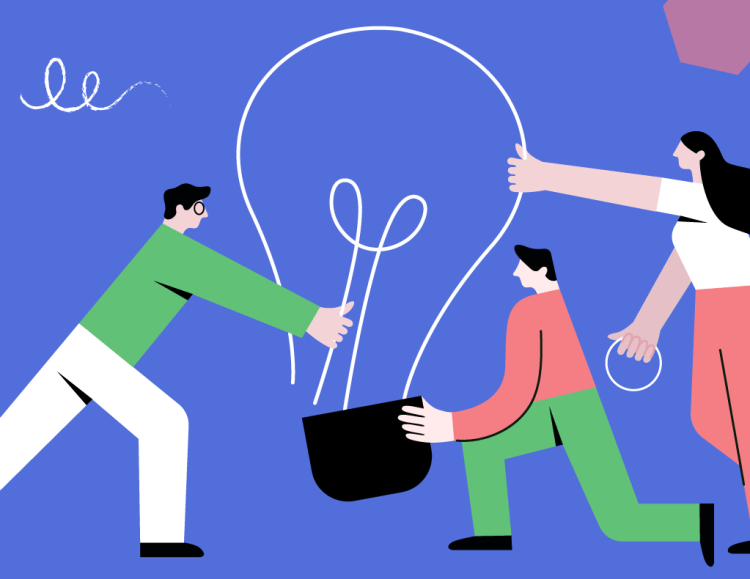 Multiple people putting a lightbulb together representing their individual access to the task and the togetherness provided by visual collaboration.