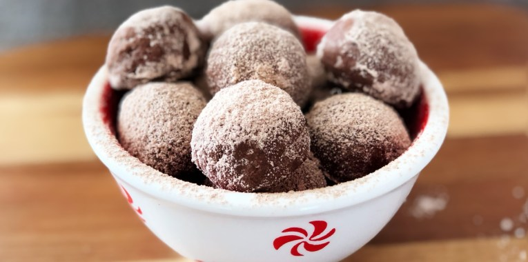 Grain-Free Peppermint Mocha Snowball Cookies