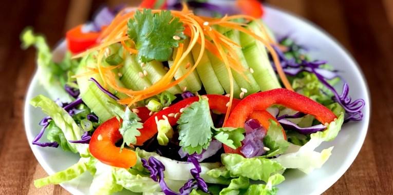 Rainbow Salad with Thai Peanut Dressing