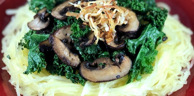 Mushrooms and Truffle Kale with Spaghetti Squash