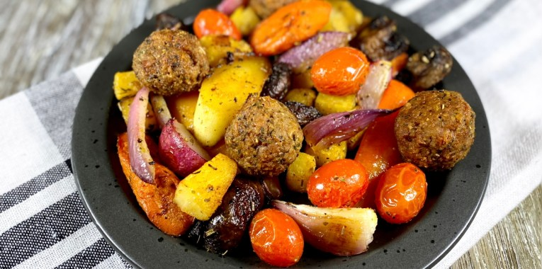 Roasted Italian Vegetables and Beyond Meatballs
