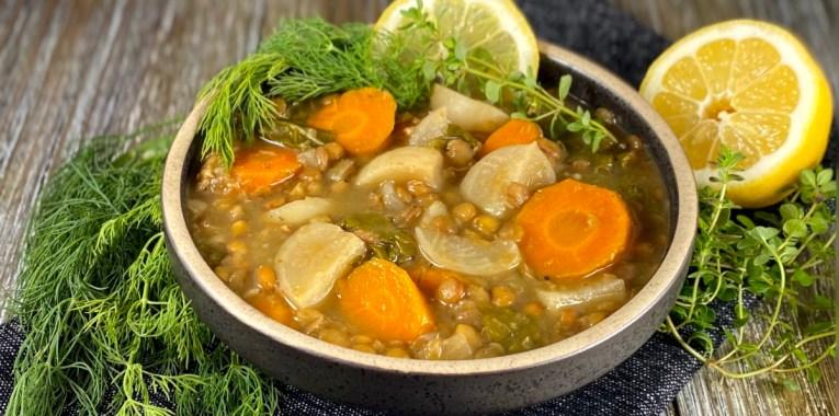 Hakurei Turnip and Lentil Soup