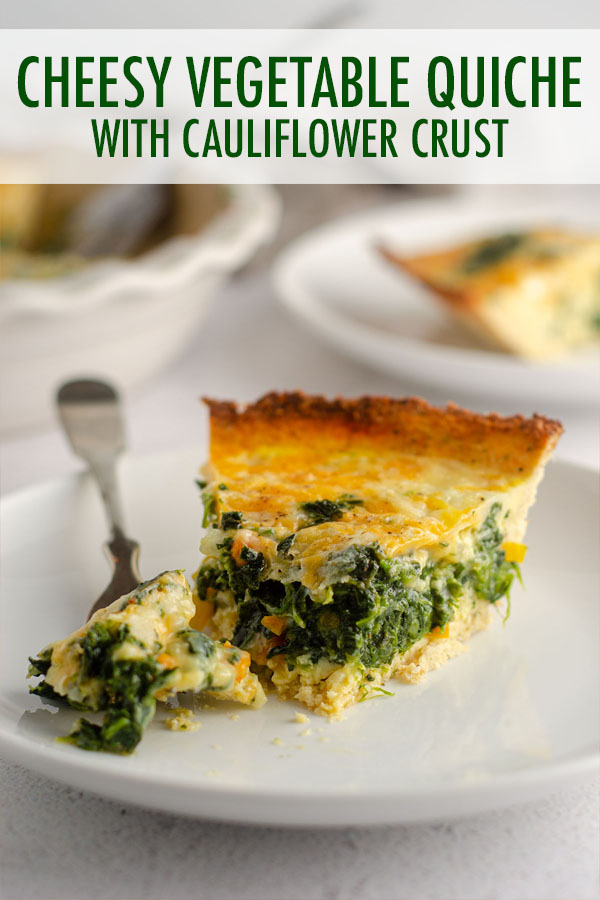 A cheesy quiche loaded with veggies, baked in a low-carb, gluten free, and deliciously seasoned cauliflower crust.