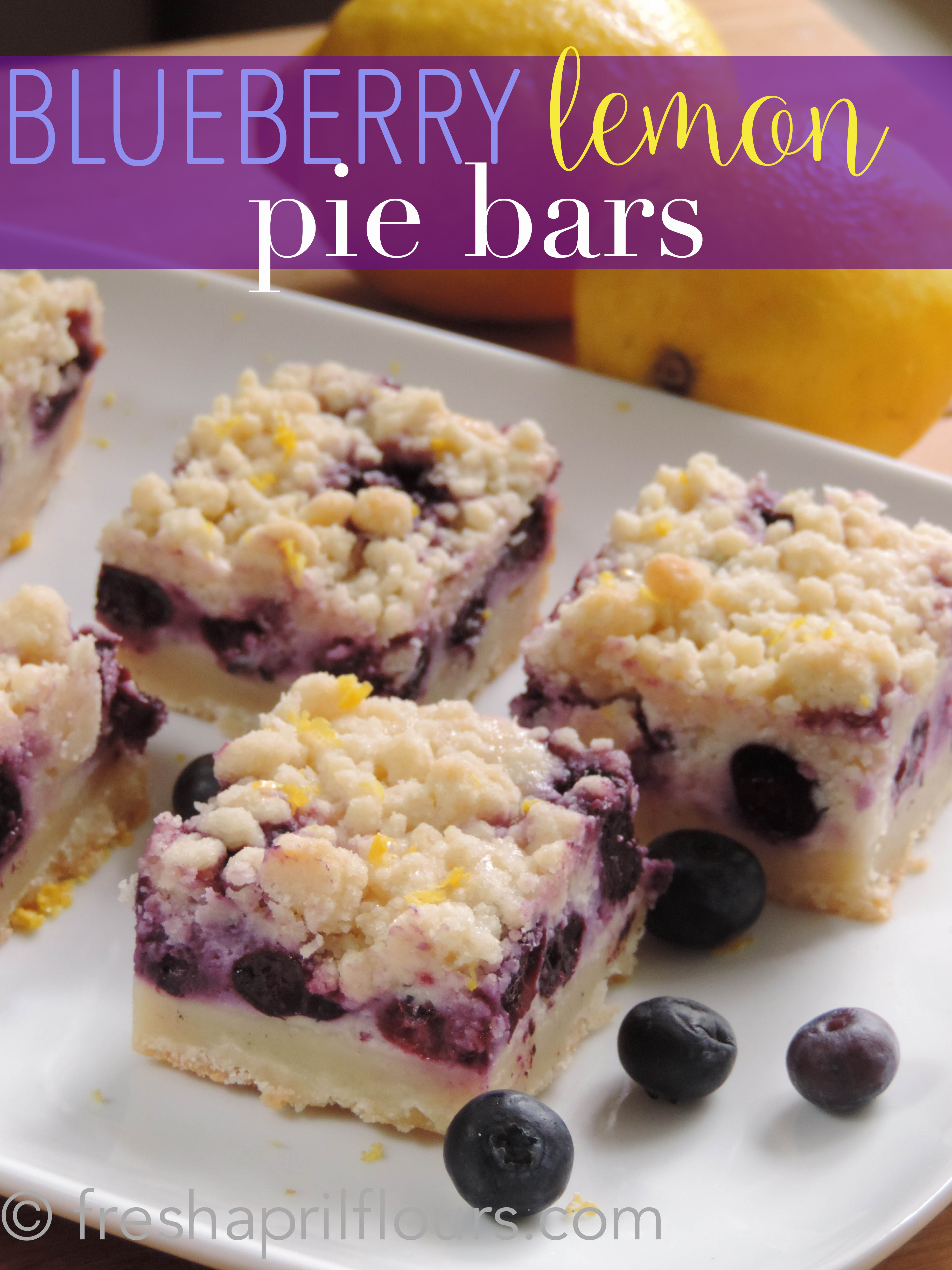 Creamy and sweet pie bursting with blueberries and citrusy lemon on top of shortbread crust. In portable bar form!