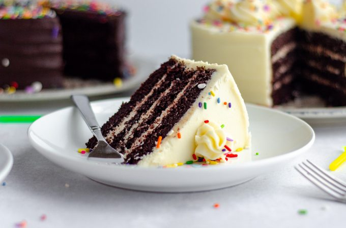 slice of chocolate layer cake with vanilla buttercream and rainbow sprinkles on a white plate with a fork