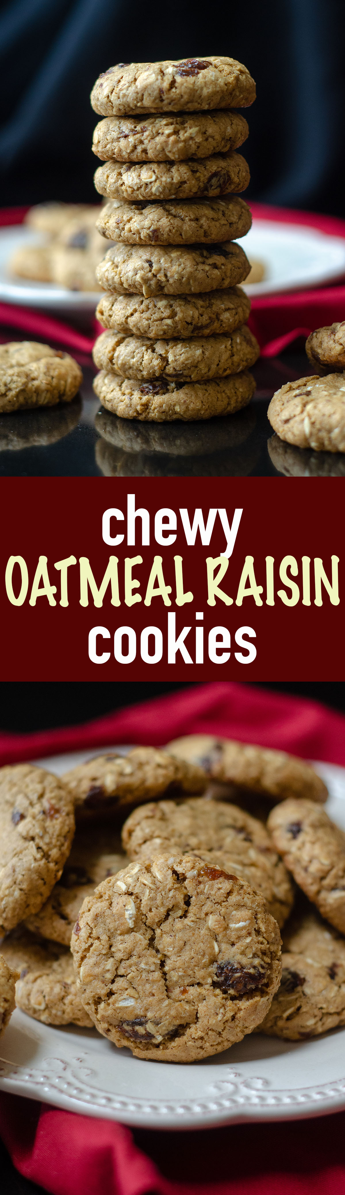 These oatmeal raisin cookies are chewy, buttery, and sweetened with brown sugar and molasses.