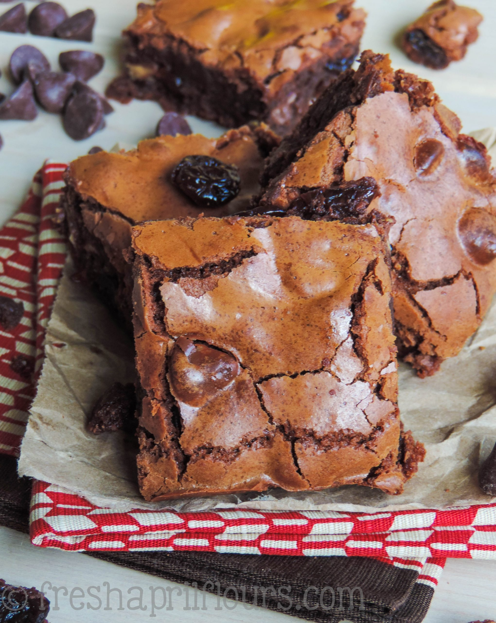 Chocolate Cherry Chunk Brownies: Chewy, fudgy, from scratch brownies studded with plump dried cherries and chocolate chunks. A chocolate cherry dream!