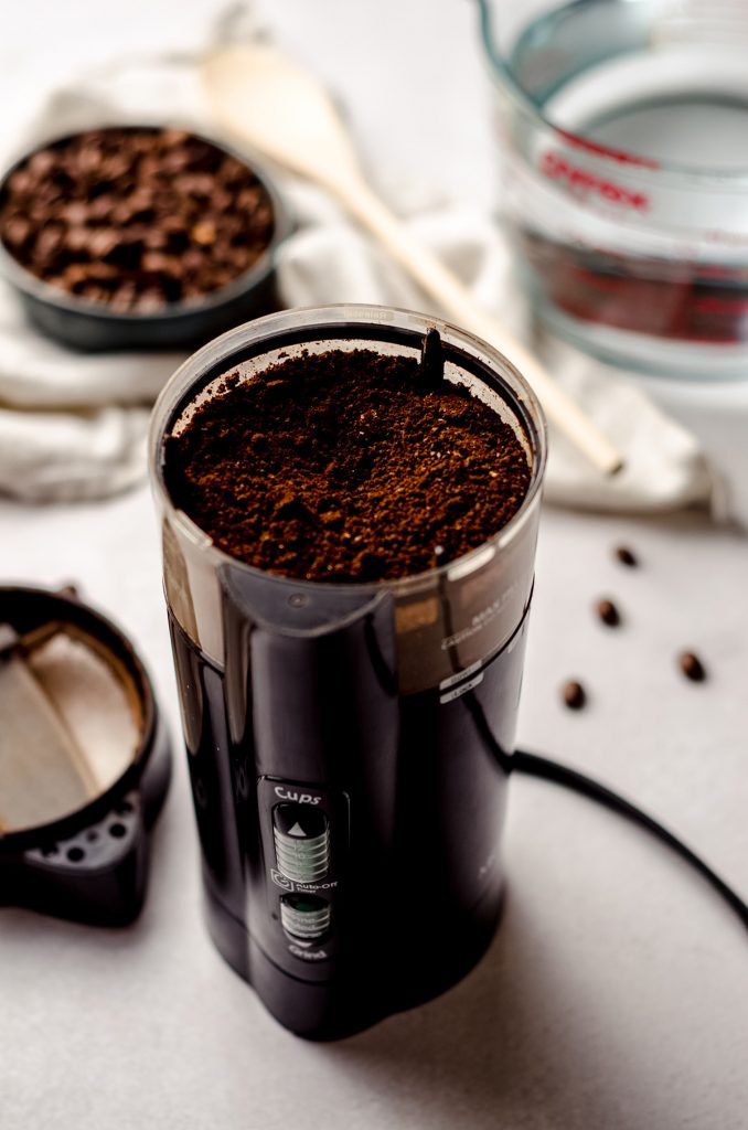 coffee grounds in a coffee grinder