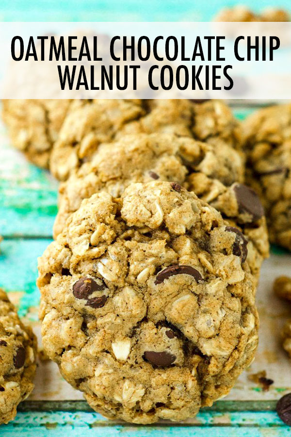 Soft and chewy oatmeal cookies fully loaded with chocolate chips and walnuts.