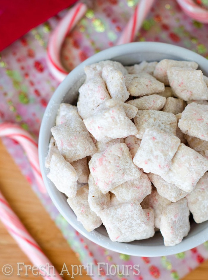 Candy Cane Puppy Chow: A crunchy peppermint version of classic puppy chow-- just in time for the holidays!