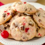 Cherry Almond Date Cookies: Soft-centered cookies filled with crunchy slivered almonds, sweet maraschino cherries, and chewy, flavorful dates. Perfect for your cookie jar any time of the year!