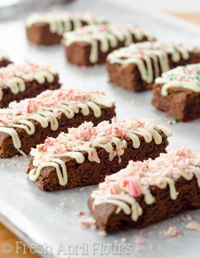 Chocolate Peppermint Biscotti: Chocolate biscotti bursting with peppermint flavor and bits of candy canes. Add a drizzle of white chocolate and some festive sprinkles and you have yourself a merry little dessert!