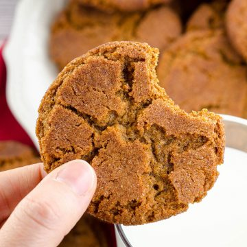 Gingersnap Cookies-- 2 Ways: Perfectly spiced molasses cookies-- either soft & chewy or crisp & crunchy. One recipe, two different results with just one ingredient swap.