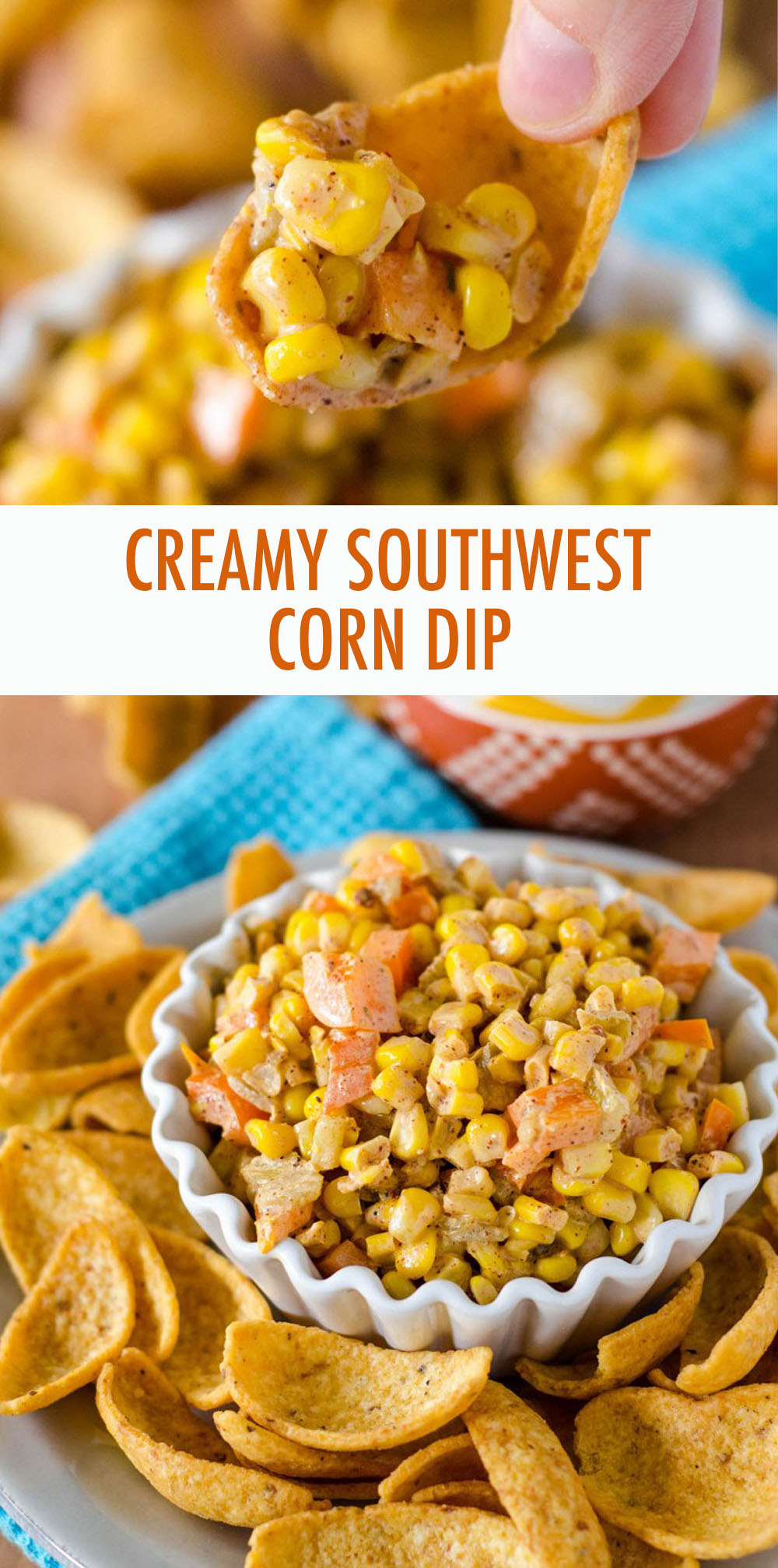 Lightened up creamy corn dip, spiced with homemade taco seasoning. Great with corn or tortilla chips!
