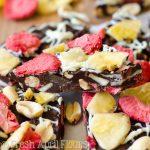 Banana Split Bark: Easy chocolate bark made with bananas, pineapples, strawberries, and peanuts.