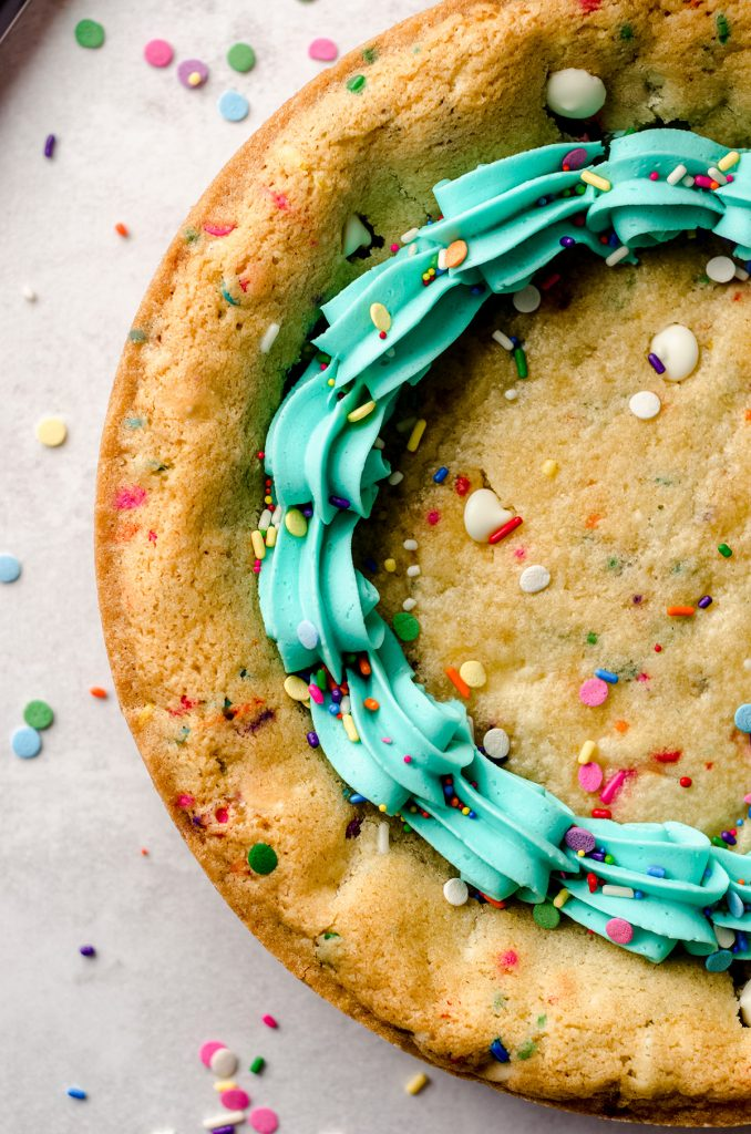 aerial photo of funfetti sugar cookie cake