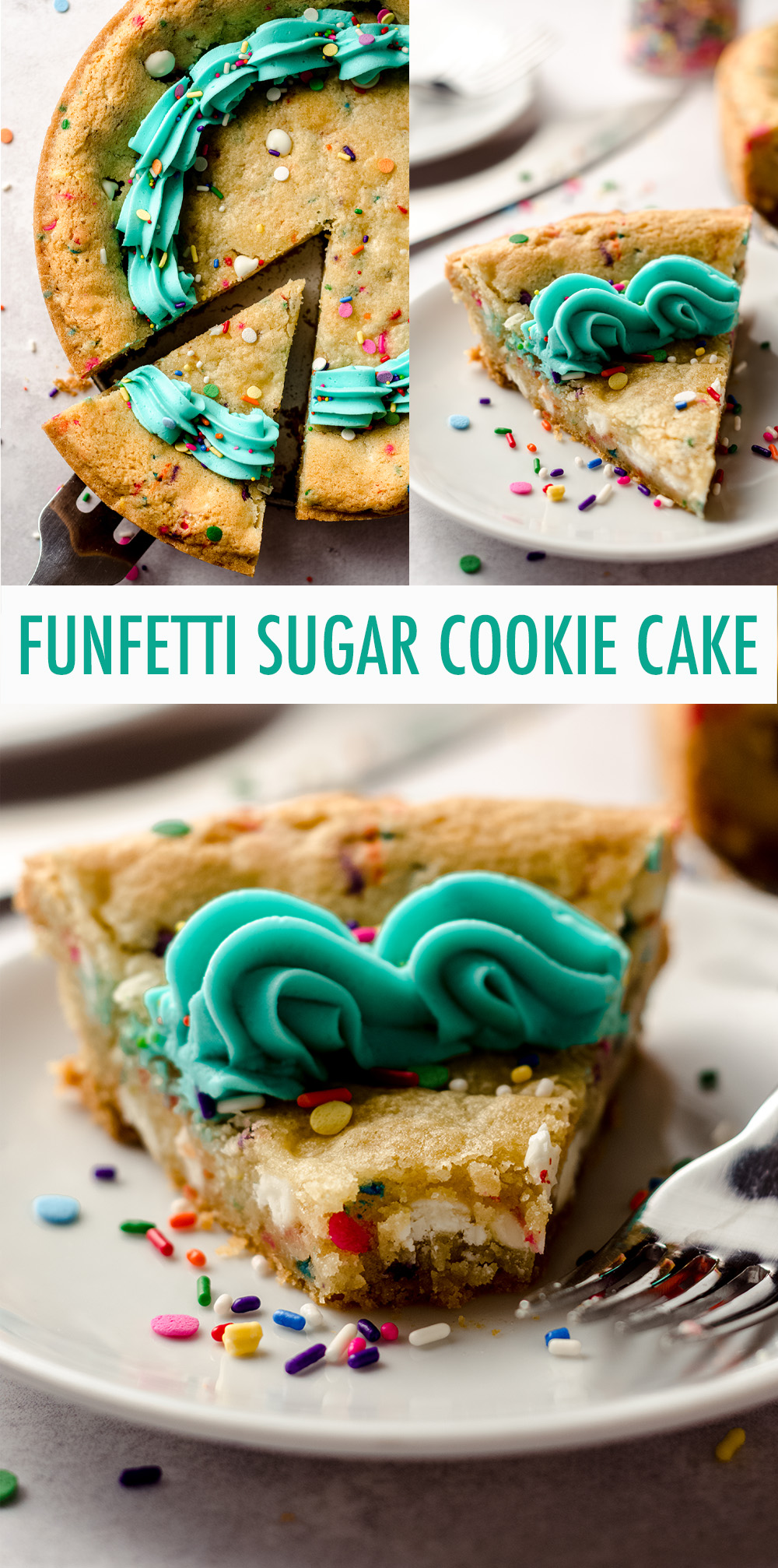 This giant sugar cookie cake recipe yields a soft and buttery center and crunchy edges. Top it with a creamy and buttery almond vanilla buttercream and sprinkles and you're ready for a celebration!