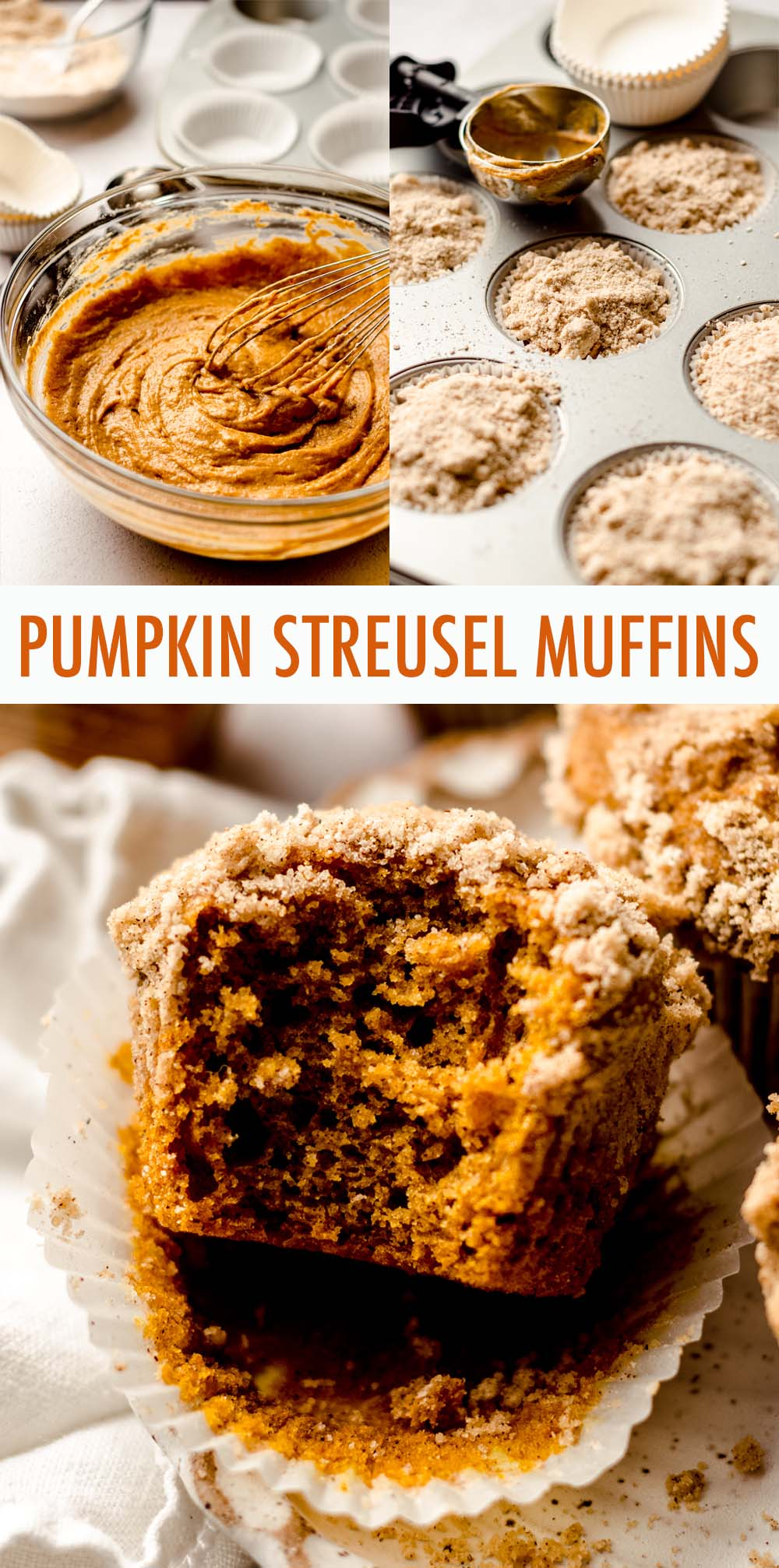Moist and tender pumpkin muffins made with real pumpkin and all the warm flavors of fall, topped with an irresistible pumpkin spice streusel.