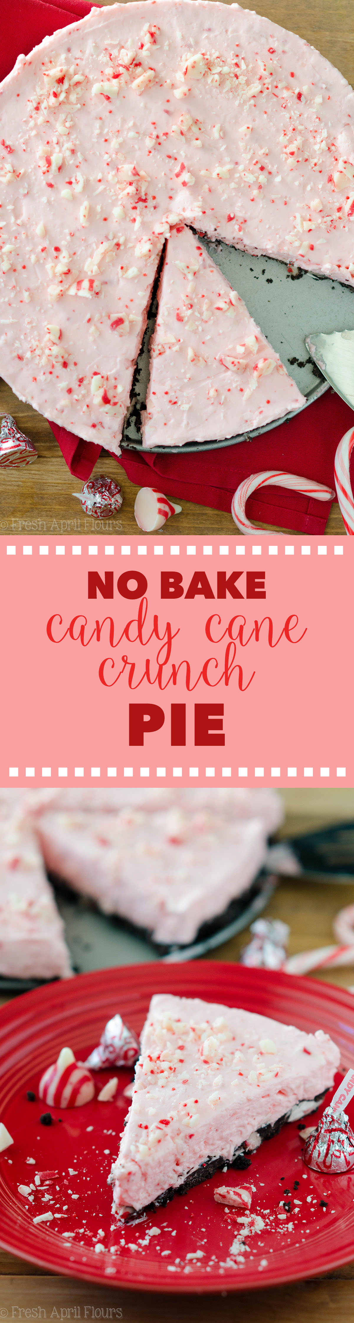 No Bake Candy Cane Crunch Pie: Creamy, minty pie studded with chopped Candy Cane Kisses all on top of a crunchy Oreo cookie crust.