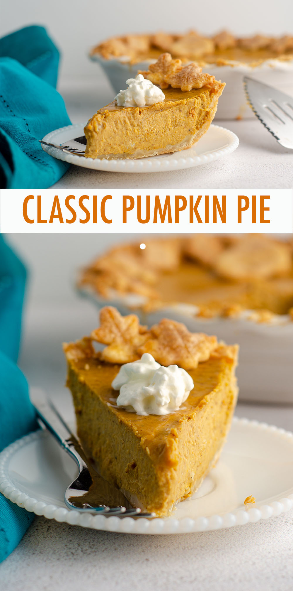 A simple recipe for my go-to pumpkin pie. Bursting with flavor thanks to a few surprise ingredients, rich, smooth, and made even better baked in my favorite homemade pie crust.