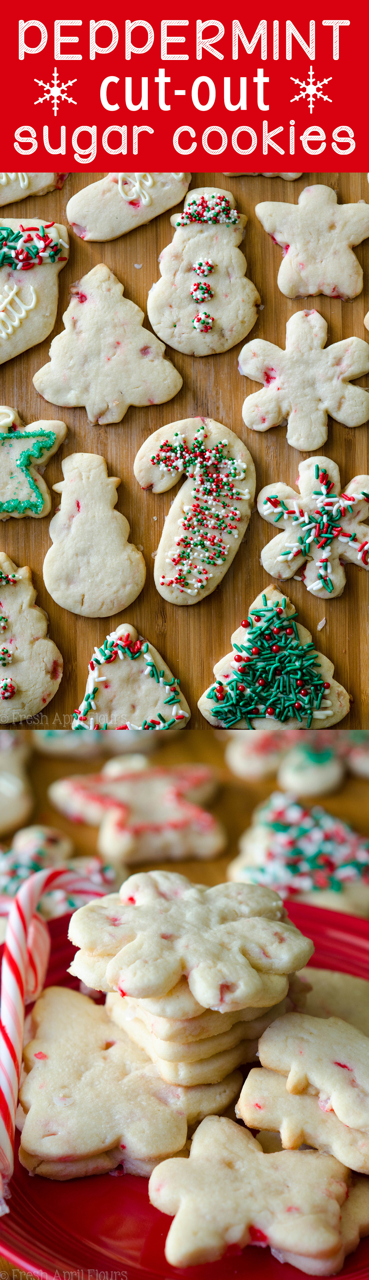 Peppermint Cut-Out Sugar Cookies: No dough chilling necessary for these soft cut-out sugar cookies that are perfect for decorating with chocolate, icing, or sprinkles. Crisp edges, soft centers, and filled with bits of candy canes!