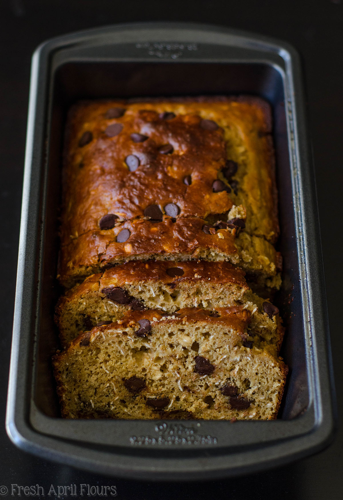 oatmeal chocolate chip lactation bread in a loaf pan
