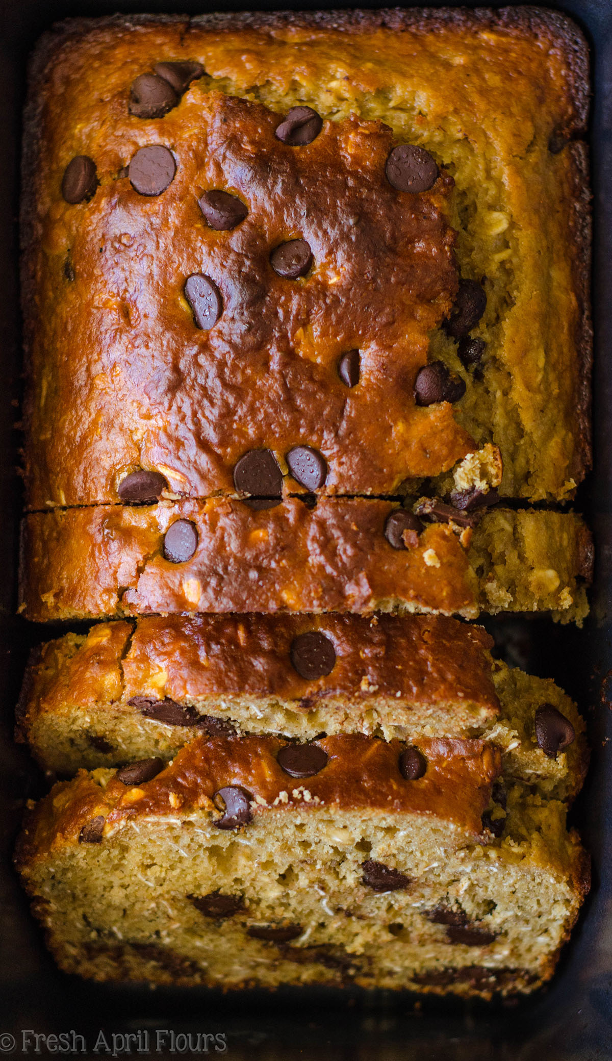 loaf of oatmeal chocolate chip lactation quick bread
