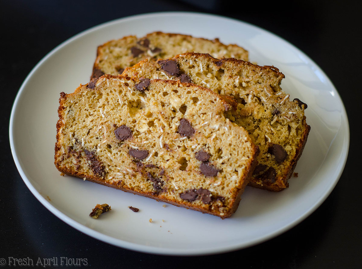oatmeal chocolate chip lactation bread slices on a plate