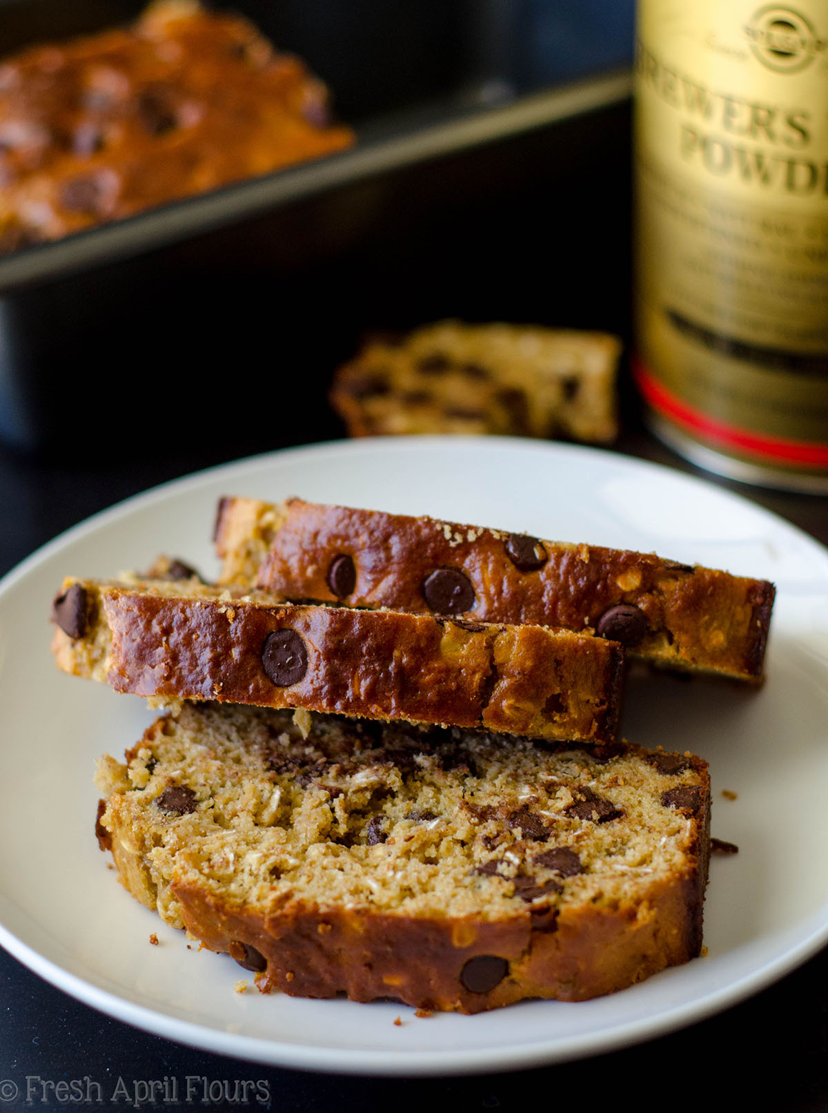 oatmeal chocolate chip lactation quick bread slices on a plate