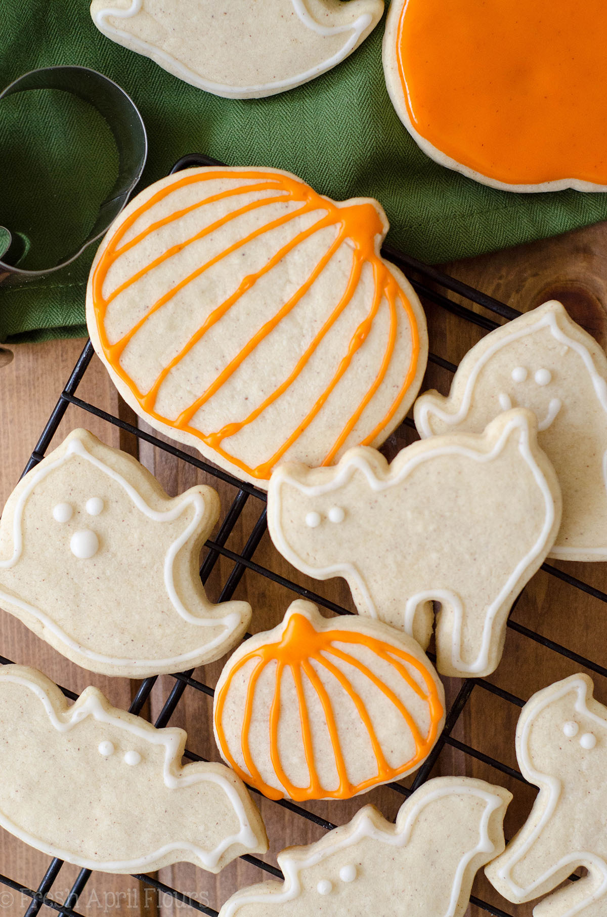 aerial photo of pumpkin spice sugar cookies on a cooling rack