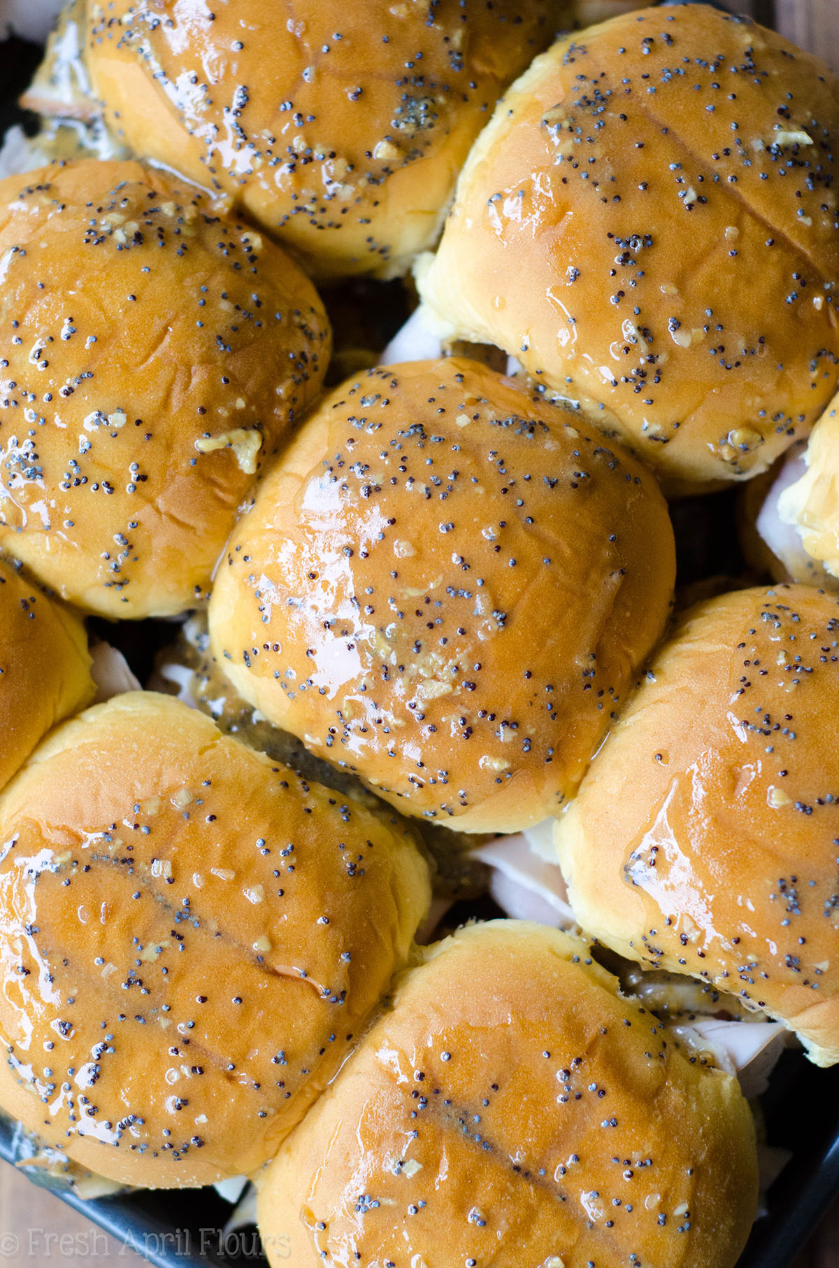turkey and cheese sliders with a glaze on top