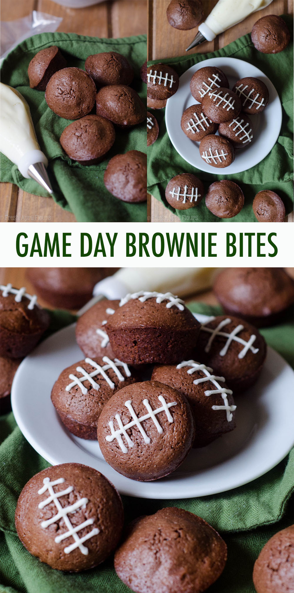 Adorable bite-size brownies adorned with buttercream football stripes. Perfect for any football game day you're looking to celebrate!