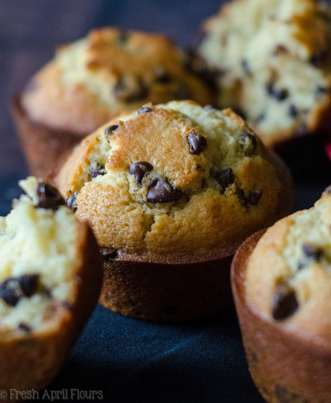 Bakery Style Chocolate Chip Muffins: Jumbo size buttery muffins stuffed with enough chocolate chips to rival your favorite bakery!