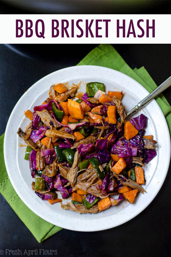 BBQ brisket gets a vegetable overhaul, combined with tender sweet potatoes, crunchy red cabbage, and spicy poblano and jalapeño peppers.