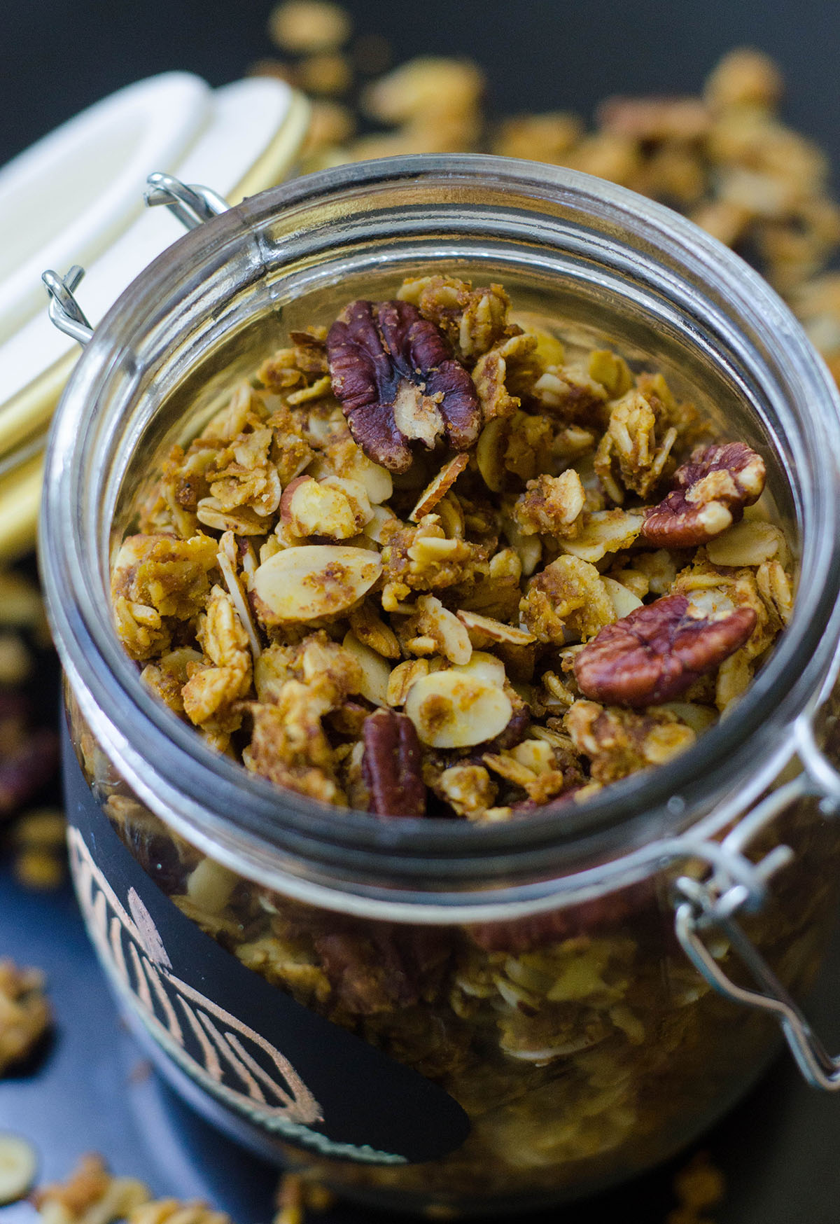 Soft-Baked Pumpkin Pie Granola: Homemade spiced granola gets a pumpkin flair thanks to real pumpkin, and sweetened with brown sugar and maple syrup. Not your ordinary crunchy granola-- this stuff is soft like pie!