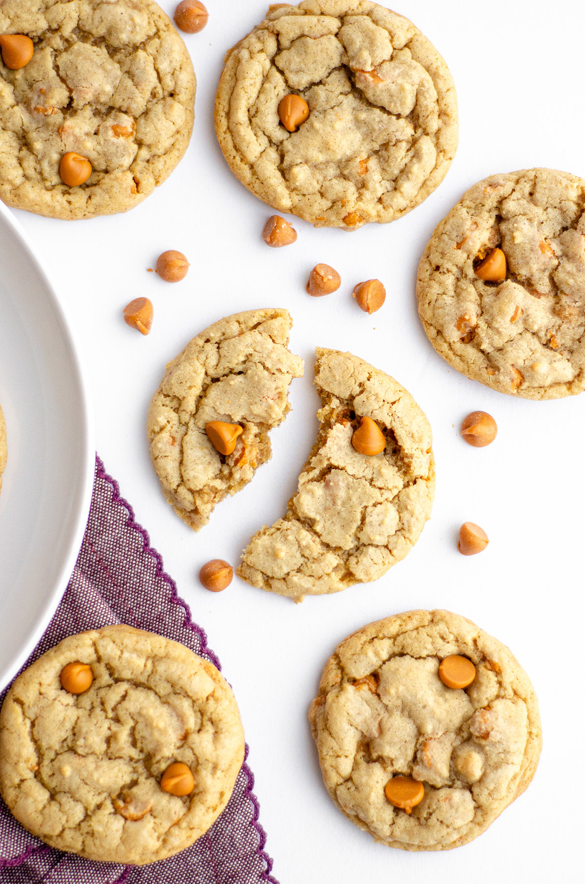 Easy brown sugar drop cookies filled with a heavy dose of butterscotch chips. No chilling required!