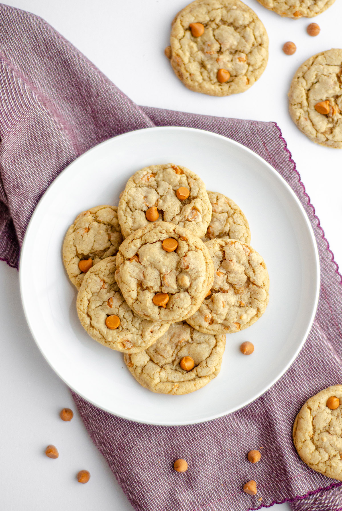 aerial photo of butterscotch cookies on a plate