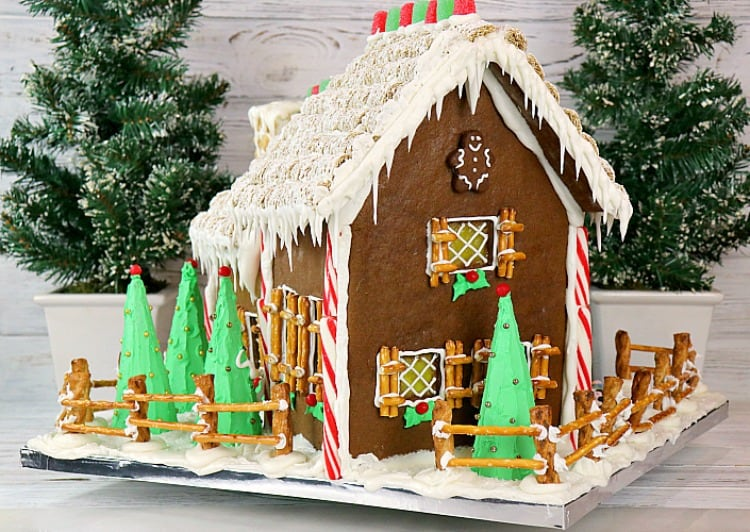 gingerbread house with royal icing drips