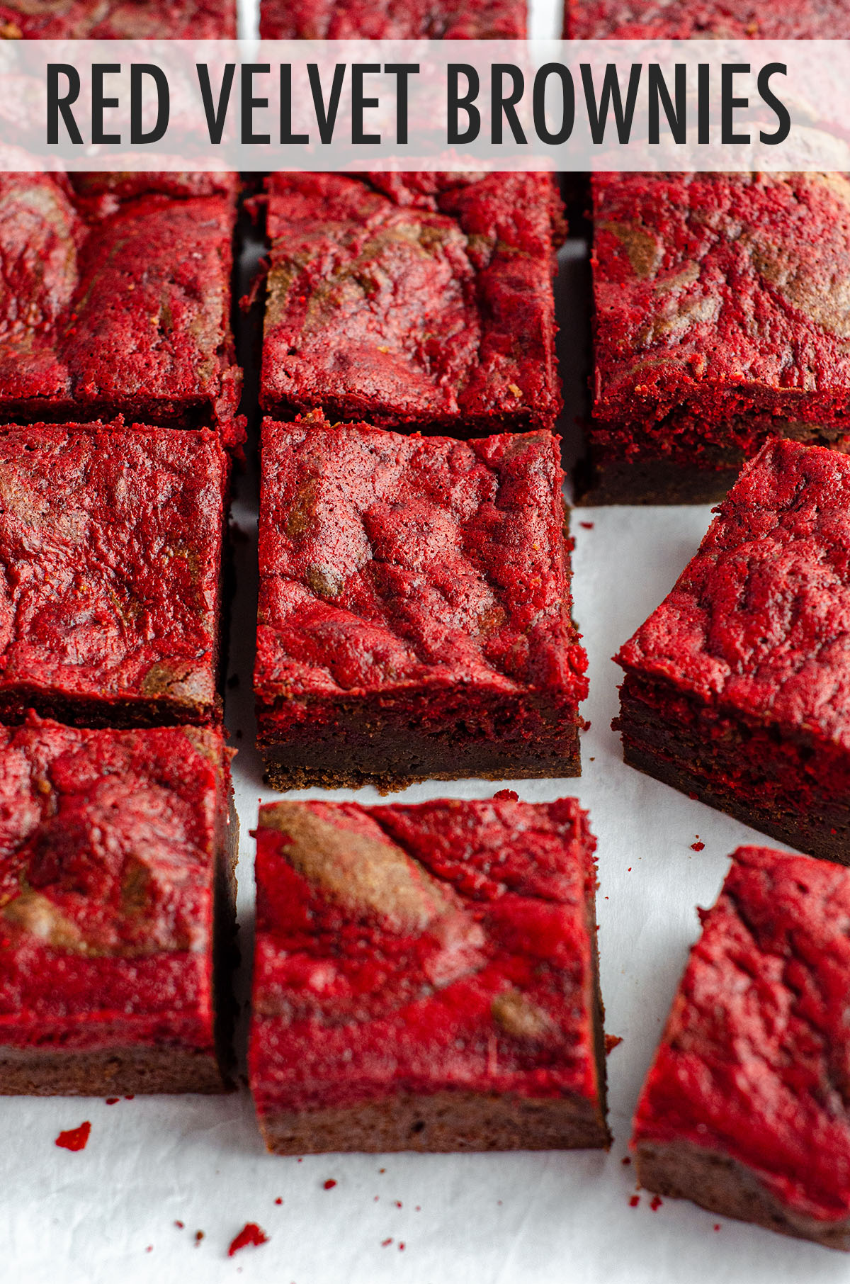 Dense and fudgy brownies swirled with red velvet cake-- everything is made from scratch!