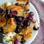 Baked Blueberry French Toast: Easy overnight French toast with cream cheese chunks and studded with juicy blueberries.