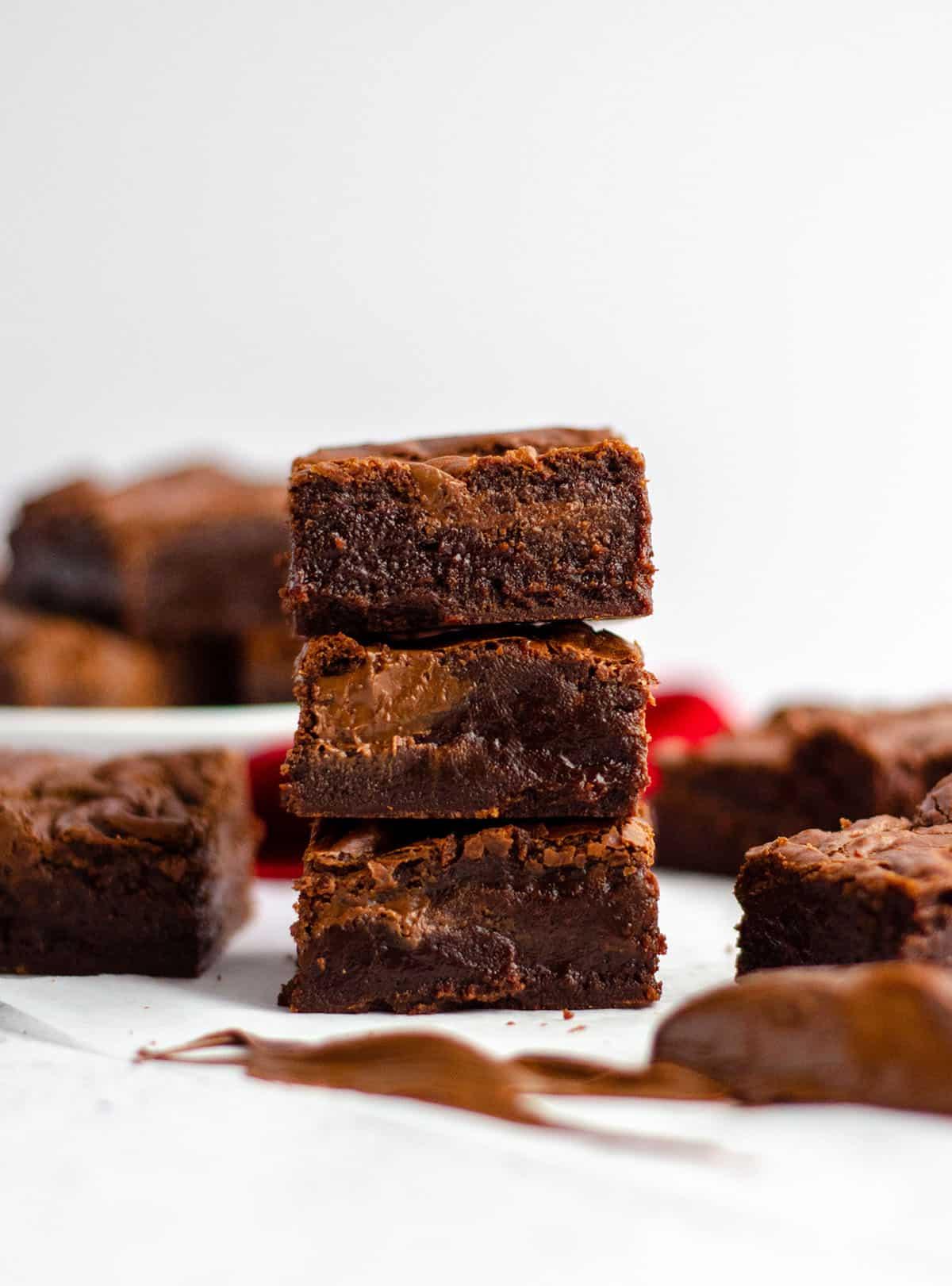 stack of fudgy nutella brownies