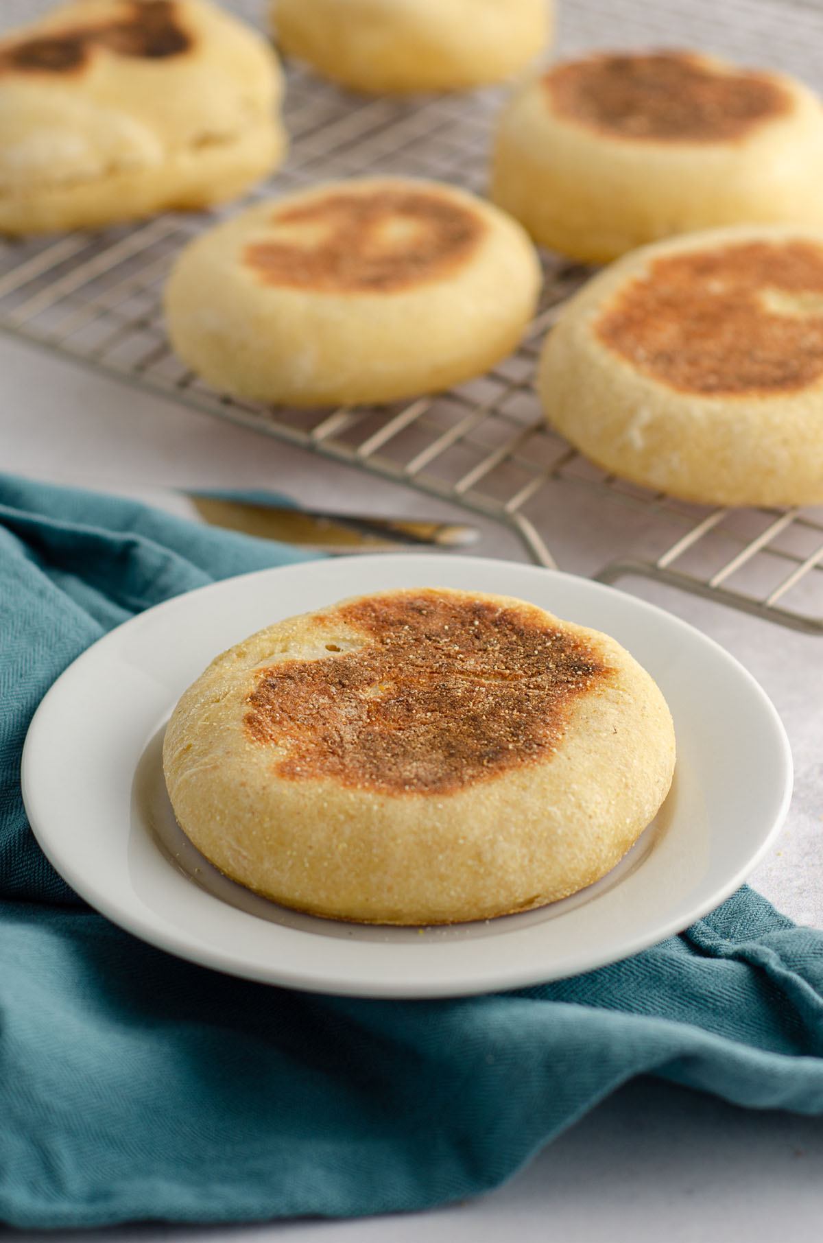 sourdough english muffins on a cooling rack in the background of a sourdough english muffin sitting on a white plate