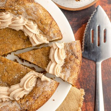 aerial photo of snickerdoodle cookie cake sliced and ready to serve