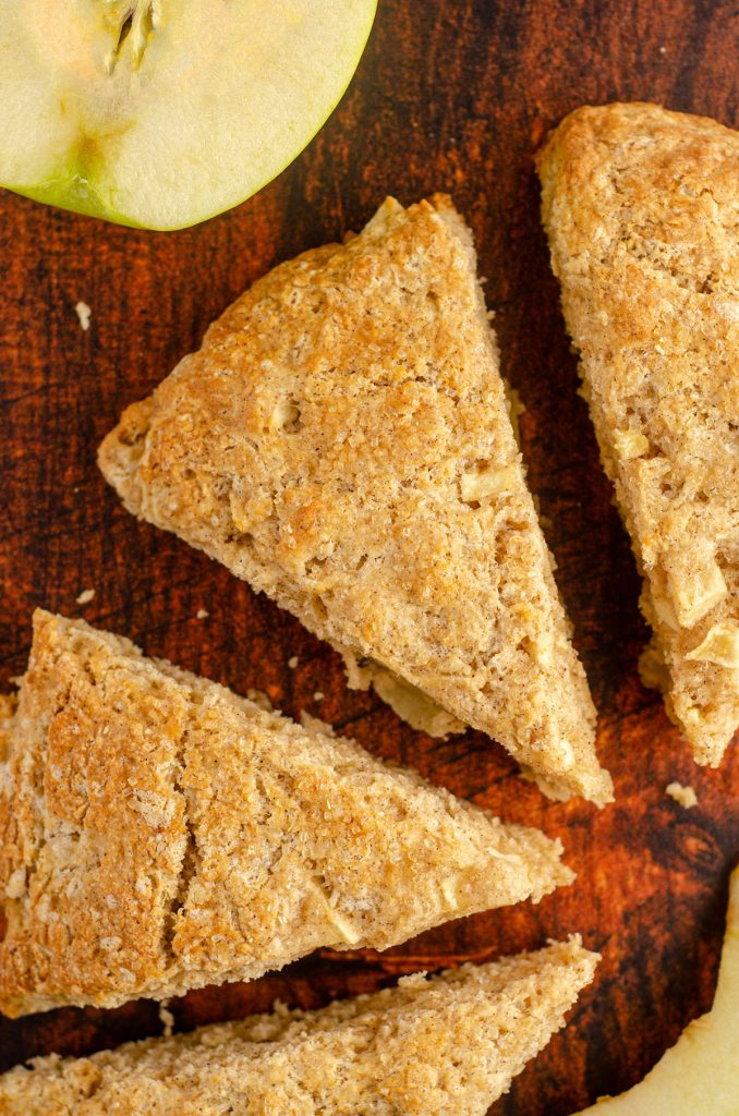 aerial view of apple scone with granny smith in background