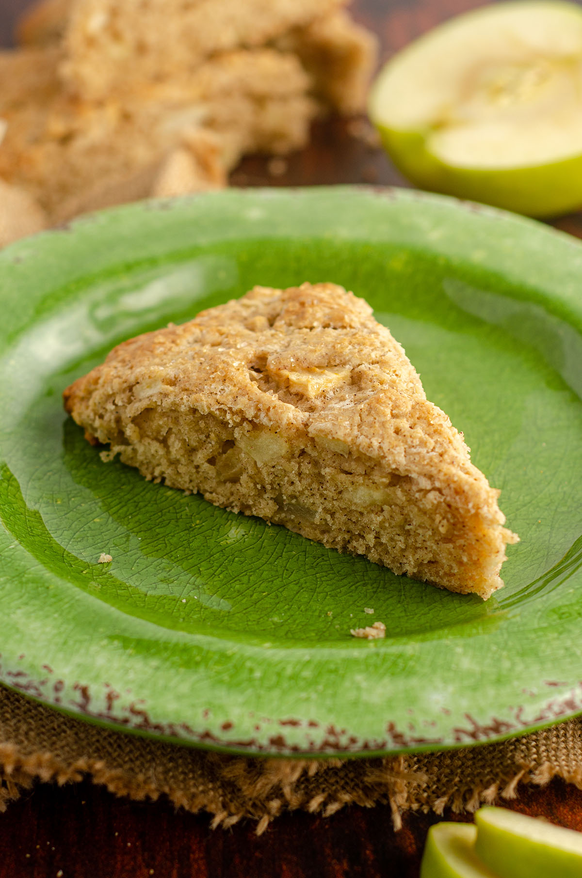 apple scone on a green plate