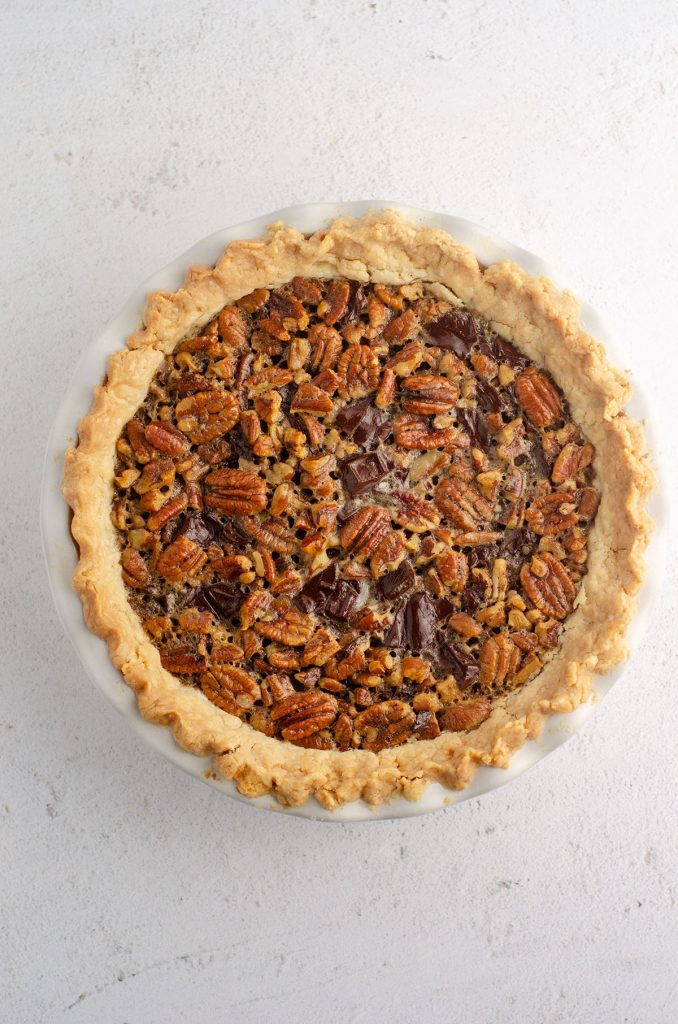 aerial photo of a chocolate chip pecan pie