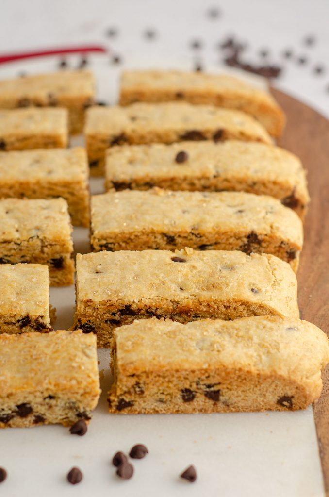 chocolate chip biscotti on a serving platter