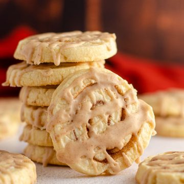 stack of cinnamon pinwheel cookies