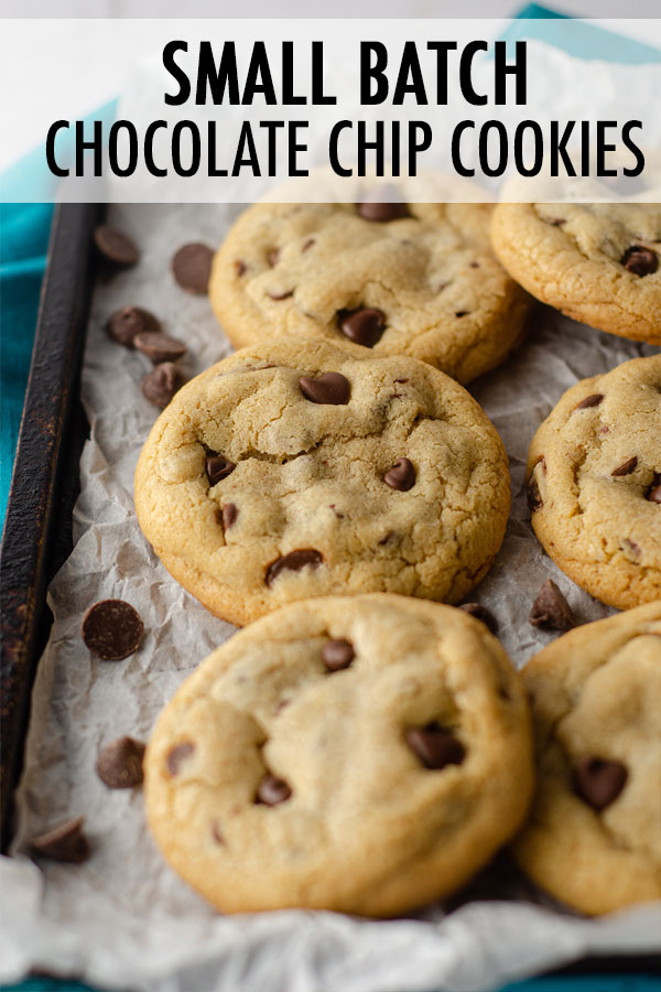 An easy drop cookie recipe that requires no chilling and yields 6 thick and chewy chocolate chip cookies. Ready in 25 minutes from start to finish!